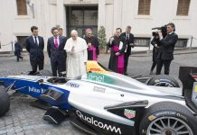 The Pope blessed an electric racecar